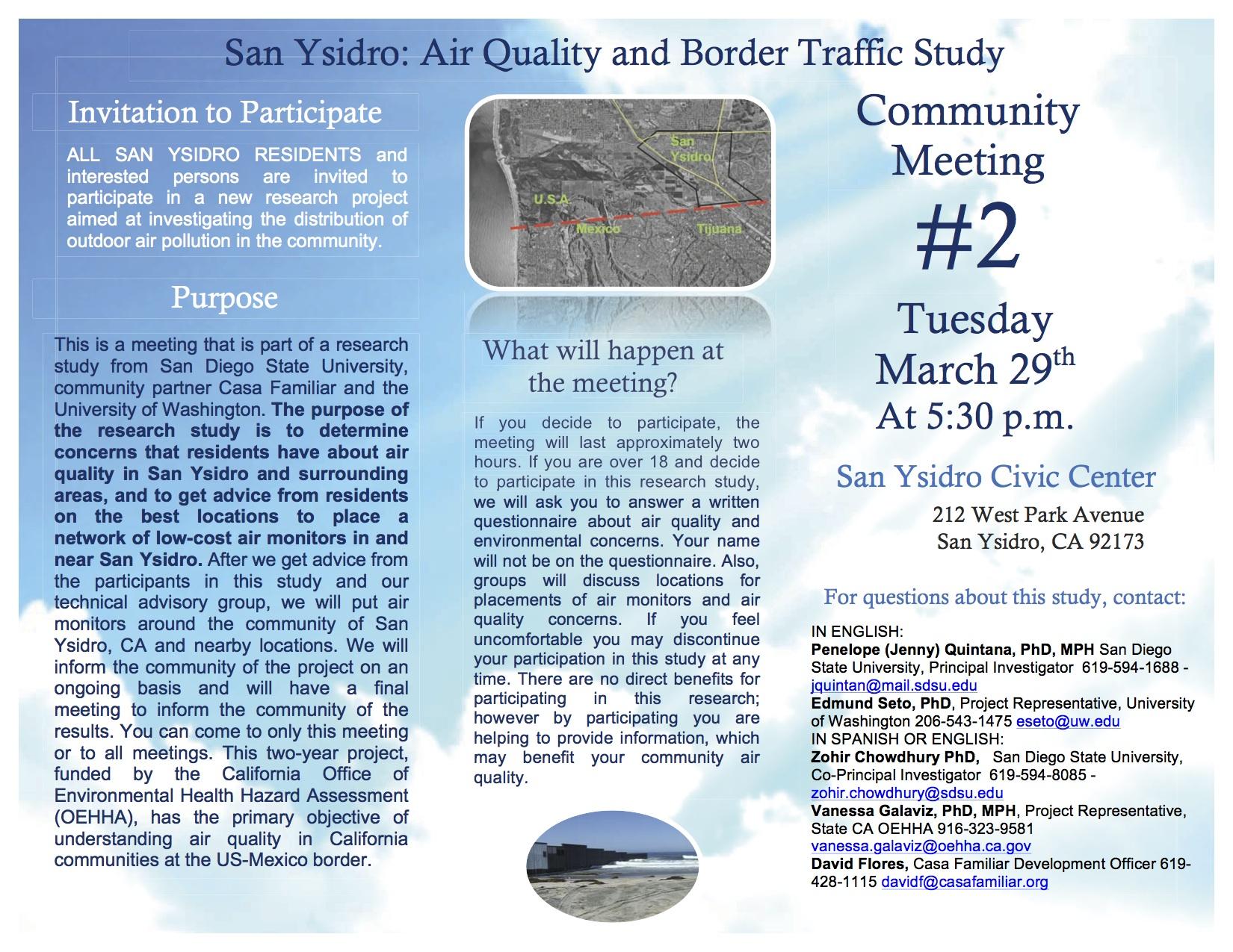 Community Meeting. San Ysidro Air Quality & Border Traffic Study.