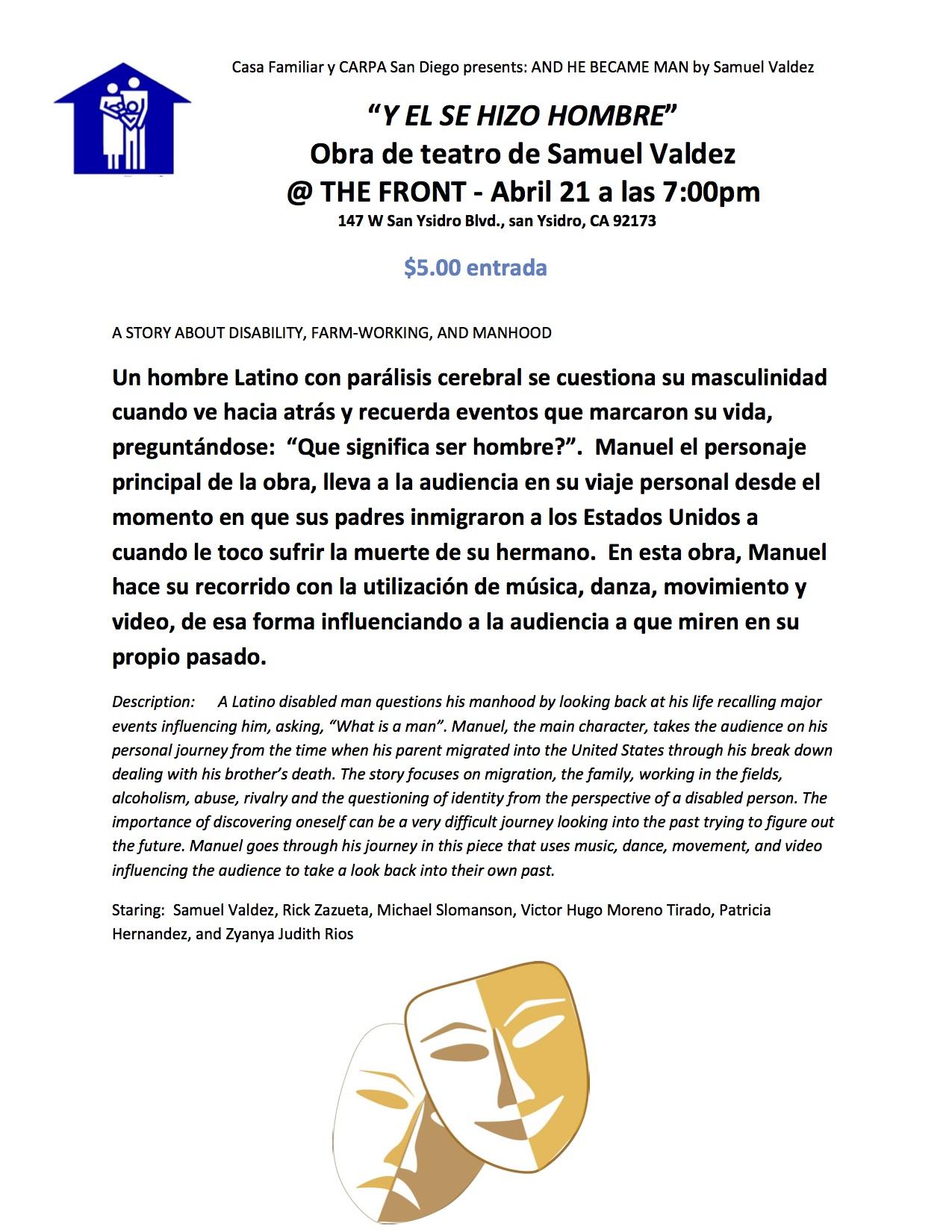 Y EL SE HIZO HOMBRE – Obra de Teatro de Samuel Valdez April – 21 – 2016