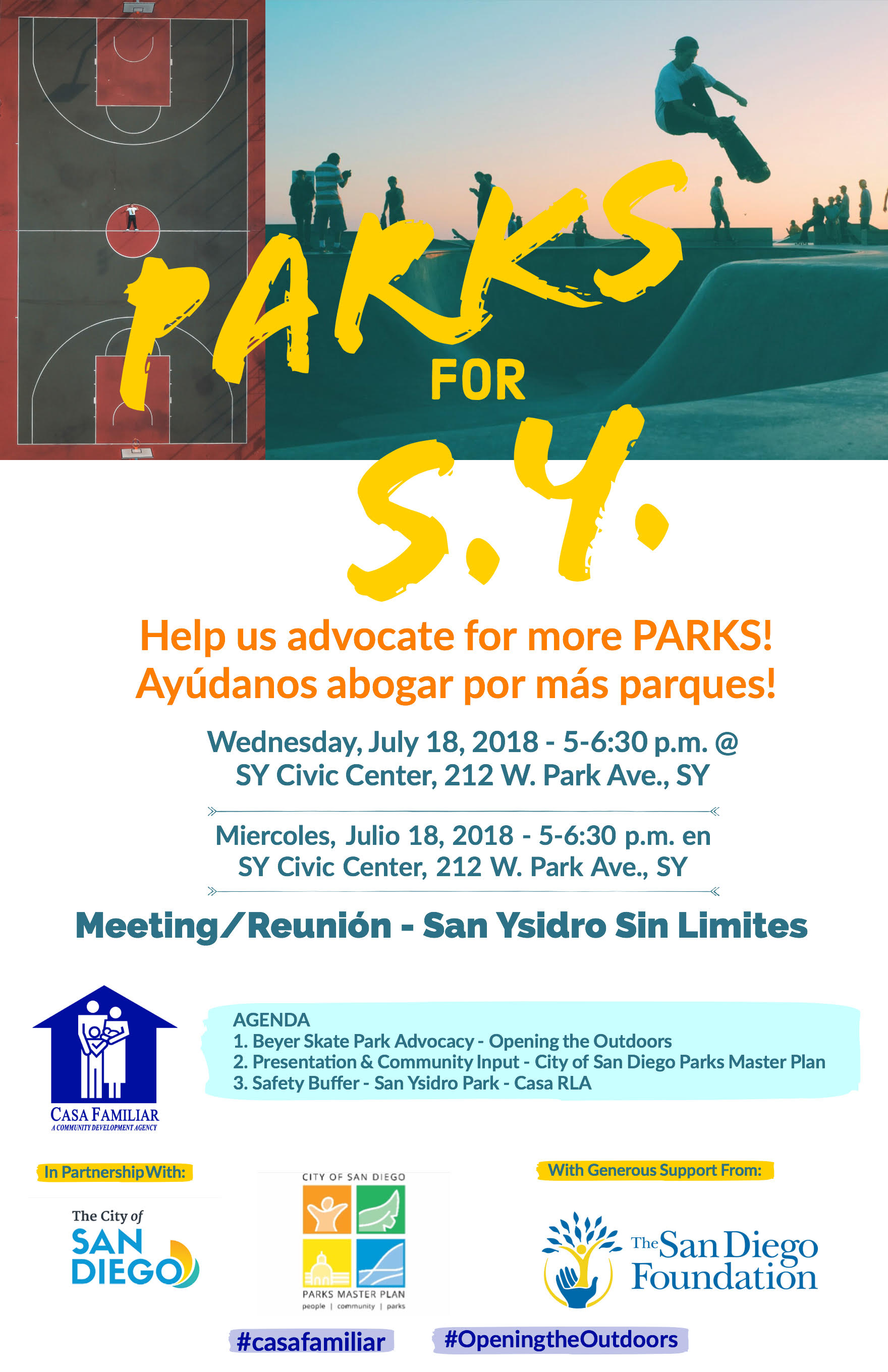 Sin Límites meeting: Parks for San Ysidro. Wed july 18th.